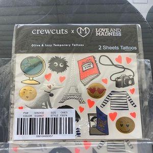 Crewcuts Olive & Izzy Temporary Tattoos NWT